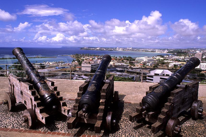 Historical military cannons at military fortress Fort Santa Agueda Hagatna in Guam USA
