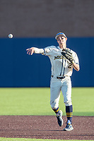 Michigan Wolverines shortstop Benjamin Sems (2) makes a throw to first base against the Michigan State Spartans on March 21, 2021 in NCAA baseball action at Ray Fisher Stadium in Ann Arbor, Michigan. Michigan scored 8 runs in the bottom of the ninth inning to defeat the Spartans 8-7. (Andrew Woolley/Four Seam Images)