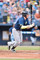 Columbia Fireflies designated hitter Dash Winningham (34) swings at a pitch during a game against the Asheville Tourists at McCormick Field on August 17, 2016 in Asheville, North Carolina. The Tourists defeated the Fireflies 7-6. (Tony Farlow/Four Seam Images)