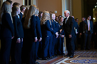 United States Vice President Mike Pence speaks to a new class of Senate Pages following Republican Senate luncheons on Capitol Hill in Washington D.C., U.S., on Tuesday, November 5, 2019.<br />  <br /> Credit: Stefani Reynolds / CNP /MediaPunch