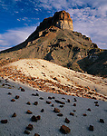 Big Bend National Park, TX<br /> Cerro Castellan with lava rocks scattered on volcanic ash in the foreground
