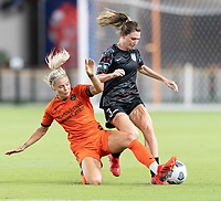 HOUSTON, TX - SEPTEMBER 10: Rachel Daly #3 of the Houston Dash attempts to strip the ball from Arin Wright #3 of the Chicago Red Stars during a game between Chicago Red Stars and Houston Dash at BBVA Stadium on September 10, 2021 in Houston, Texas.
