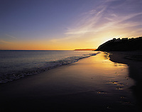 Golden sunset on the beach at Armacao, Algarve, Portuga