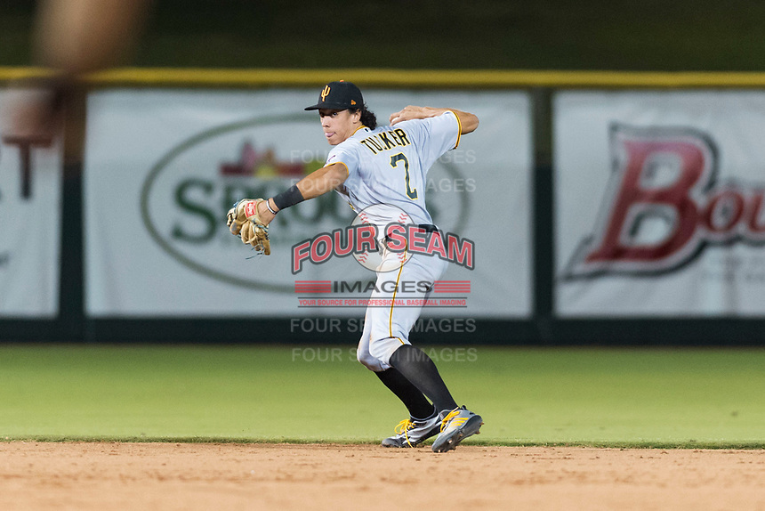 Surprise Saguaros shortstop Cole Tucker (2), of the Pittsburgh Pirates organization, throws to first base during an Arizona Fall League game against the Scottsdale Scorpions at Scottsdale Stadium on October 15, 2018 in Scottsdale, Arizona. Surprise defeated Scottsdale 2-0. (Zachary Lucy/Four Seam Images)