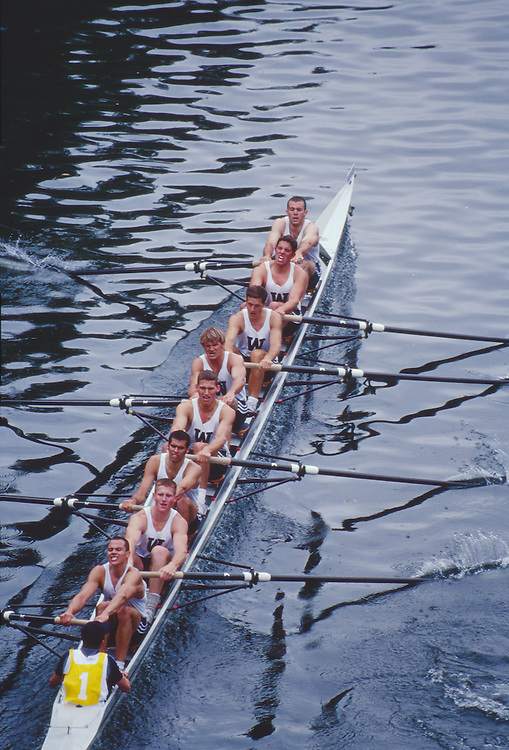Rowing, Seattle, Windermere Cup Regatta, University of Washington varsity eight in  racing shell from above, Lake Washington Ship Canal, Opening day of the competitive rowing season,.