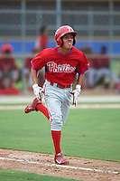 Philadelphia Phillies Jose Antequera (7) during an instructional league game against the Toronto Blue Jays on September 28, 2015 at Englebert Complex in Dunedin, Florida.  (Mike Janes/Four Seam Images)