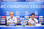 The coach and one of the players of BURIRAM UNITED (THA) speak at the pre-match press conference on 03 May 2016, one day before the 2016 AFC Champions League Group F Match Day 6 match between BURIRAM UNITED (THA) vs SHANDONG LUNENG FC (CHN) in Buriram, Thailand.