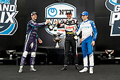 #21: Rinus VeeKay, Ed Carpenter Racing Chevrolet<br /> #51: Romain Grosjean, Dale Coyne Racing with RWR Honda<br /> #10: Alex Palou, Chip Ganassi Racing Honda<br /> Victory Lane