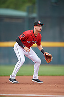 Erie SeaWolves third baseman A.J. Simcox (22) during an Eastern League game against the Altoona Curve on June 5, 2019 at UPMC Park in Erie, Pennsylvania.  Altoona defeated Erie 6-2.  (Mike Janes/Four Seam Images)