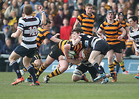 2015 ULSTER SCHOOLS CUP FINAL | Tuesday 17th March 2015<br /> <br /> John Dickson is tackled by Neil Kilpatrick during the 2015 Ulster Schools Cup Final between RBAI and Wallace High School at the Kingspan Stadium, Ravenhill Park, Belfast, Count Down, Northern Ireland.<br /> <br /> Picture credit: John Dickson / DICKSONDIGITAL