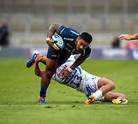 21st August 2020; AJ Bell Stadium, Salford, Lancashire, England; English Premiership Rugby, Sale Sharks versus Exeter Chiefs;  Manu Tuilagi of Sale Sharks is tackled by Henry Slade of Exeter Chiefs