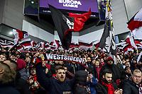12th March 2020, Ibrox Stadiu, Glasgow, Scotland; Europa League football, Glasgow Rangers versus Bayer Leverkusen;  Leverkusener Fans get ready for the game