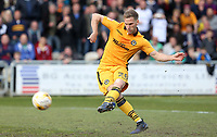 Mickey Demetriou of Newport County scores his sides first goal of the match during the Sky Bet League Two match between Newport County and Notts County at Rodney Parade, Newport, Wales, UK. Saturday 06 May 2017
