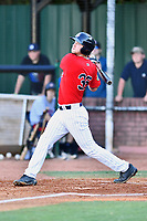 Elizabethton Twins first baseman J.J. Robinson (35) swings at a pitch during a game against the Pulaski Yankees at Joe O'Brien Field on June 27, 2016 in Elizabethton, Tennessee. The Yankees defeated the Twins 6-4. (Tony Farlow/Four Seam Images)