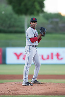 AZL Indians 2 starting pitcher Daritzon Feliz (55) prepares to deliver a pitch during an Arizona League game against the AZL Angels at Tempe Diablo Stadium on June 30, 2018 in Tempe, Arizona. The AZL Indians 2 defeated the AZL Angels by a score of 13-8. (Zachary Lucy/Four Seam Images)