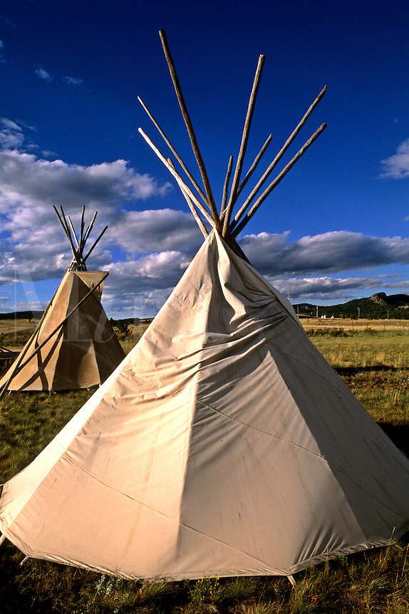 Sioux teepee at sunset on the prairie near Mount Rushmore..
