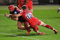 30th September 2020; Ashton Gate Stadium, Bristol, England; Premiership Rugby Union, Bristol Bears versus Leicester Tigers; Harry Thacker of Bristol Bears scores a try under pressure from George Worth of Leicester Tigers