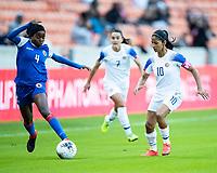 HOUSTON, TX - JANUARY 31: Ruthny Mathurin #4 of Haiti and Shirley Cruz #10 of Costa Rica go for the ball during a game between Haiti and Costa Rica at BBVA Stadium on January 31, 2020 in Houston, Texas.