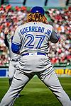22 June 2019: Toronto Blue Jays third baseman Vladimir Guerrero Jr. awaits the start of play prior to a game against the Boston Red Sox at Fenway :Park in Boston, MA. The Blue Jays rallied to defeat the Red Sox 8-7 in the 2nd game of their 3-game series. Mandatory Credit: Ed Wolfstein Photo *** RAW (NEF) Image File Available ***