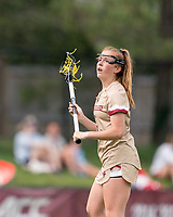 NEWTON, MA - MAY 22: Annie Walsh #3 of Boston College looks to pass during NCAA Division I Women's Lacrosse Tournament quarterfinal round game between Notre Dame and Boston College at Newton Campus Lacrosse Field on May 22, 2021 in Newton, Massachusetts.