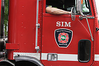 August 2012 File Photo - Montreal (Quebec) CANADA - <br /> Montreal city firetruck<br /> <br /> Camion de pompier SIM (Services Incendies de Montreal)