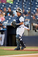 Tampa Tarpons catcher Francisco Diaz (17) during a game against the Fort Myers Miracle on May 2, 2018 at George M. Steinbrenner Field in Tampa, Florida.  Fort Myers defeated Tampa 5-0.  (Mike Janes/Four Seam Images)