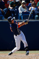 Michael Lorenzen #55 of the Cal State Fullerton Titans bats against the Texas A&M Aggies at Goodwin Field on March 10, 2013 in Fullerton, California. (Larry Goren/Four Seam Images)