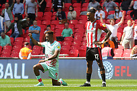 Jamal Lowe of Swansea takes a knee prior to kick-off as opposed to Brentford's Ivan Toney who prefers to stand during Brentford vs Swansea City, Sky Bet EFL Championship Play-Off Final Football at Wembley Stadium on 29th May 2021