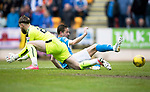 St Johnstone v RangersÖ21.05.17     SPFL    McDiarmid Park<br /> Steven MacLean slides in on Jak Alnwick only to see the ball go wide<br /> Picture by Graeme Hart.<br /> Copyright Perthshire Picture Agency<br /> Tel: 01738 623350  Mobile: 07990 594431