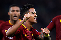 Roma's Justin Kluivert celebrates after scoring during the Champions League football match between Roma and Viktoria Plzen at Rome's Olympic stadium, October 2, 2018.<br /> UPDATE IMAGES PRESS/Riccardo De Luca
