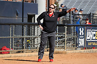 GREENSBORO, NC - FEBRUARY 22: Head coach Julie Brzezinski of Fairfield University during a game between Fairfield and North Carolina at UNCG Softball Stadium on February 22, 2020 in Greensboro, North Carolina.