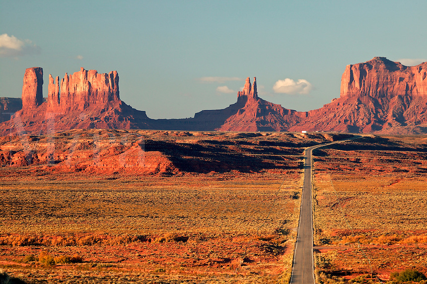 Highway 163 leads towards Monument Valley Navajo Tribal Park, Utah.
