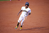 Bradenton Marauders third baseman Ke'Bryan Hayes (31) running the bases during a game against the Clearwater Threshers on April 18, 2017 at LECOM Park in Bradenton, Florida.  Clearwater defeated Bradenton 4-2.  (Mike Janes/Four Seam Images)