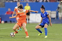 Frisco, TX - Sunday September 03, 2017: Cari Roccaro and Nahomi Kawasumi during a regular season National Women's Soccer League (NWSL) match between the Houston Dash and the Seattle Reign FC at Toyota Stadium in Frisco Texas. The match was moved to Toyota Stadium in Frisco Texas due to Hurricane Harvey hitting Houston Texas.