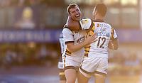 Photo: Richard Lane/Richard Lane Photography. Worcester Warriors v Wasps. Aviva Premiership.  04/12/2016. Wasps' Brendan Macken celebrates an early try with Alapati Leiua.