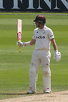Rory Burns of Surrey raises his bat after scoring fifty during Surrey CCC vs Somerset CCC, LV Insurance County Championship Group 2 Cricket at the Kia Oval on 13th July 2021