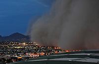 Apr. 26, 2011; Phoenix, AZ, USA; A dust storm converges on downtown Phoenix. Chase Field in Phoenix is hosting the 2011 All Star Game. Mandatory Credit: Mark J. Rebilas-