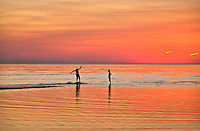 Boys boogie boarding in shallow water, Cape Cod, MA, Massachusetts, USA