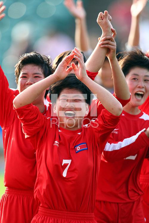 Jubilent Korean player KIM Un Ju. USA v Korea Republic. FIFA U-17 Women's World Cup Final. North Harbour Stadium, Auckland, Sunday 16 October 2008. Photo: Simon Watts/PHOTOSPORT