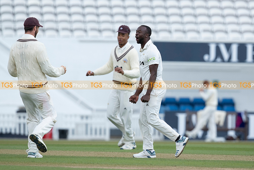 Kemar Roach celebrates the wicket of Liam Dawson during Surrey CCC vs Hampshire CCC, LV Insurance County Championship Group 2 Cricket at the Kia Oval on 1st May 2021