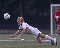 Extra effort header by Boston College forward/midfielder Kate McCarthy (21). After 2 complete overtime periods, Boston College tied Boston University, 1-1, after 2 overtime periods at Newton Soccer Field, August 19, 2011.