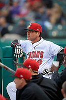 Indianapolis Indians manager Andy Barkett (19) during a game against the Toledo Mud Hens on May 2, 2017 at Victory Field in Indianapolis, Indiana.  Indianapolis defeated Toledo 9-2.  (Mike Janes/Four Seam Images)