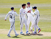 Yorkshire's Duanne Olivier (2nd L) is congratulated after taking the wicket of Zak Crawley during Kent CCC vs Yorkshire CCC, LV Insurance County Championship Group 3 Cricket at The Spitfire Ground on 16th April 2021