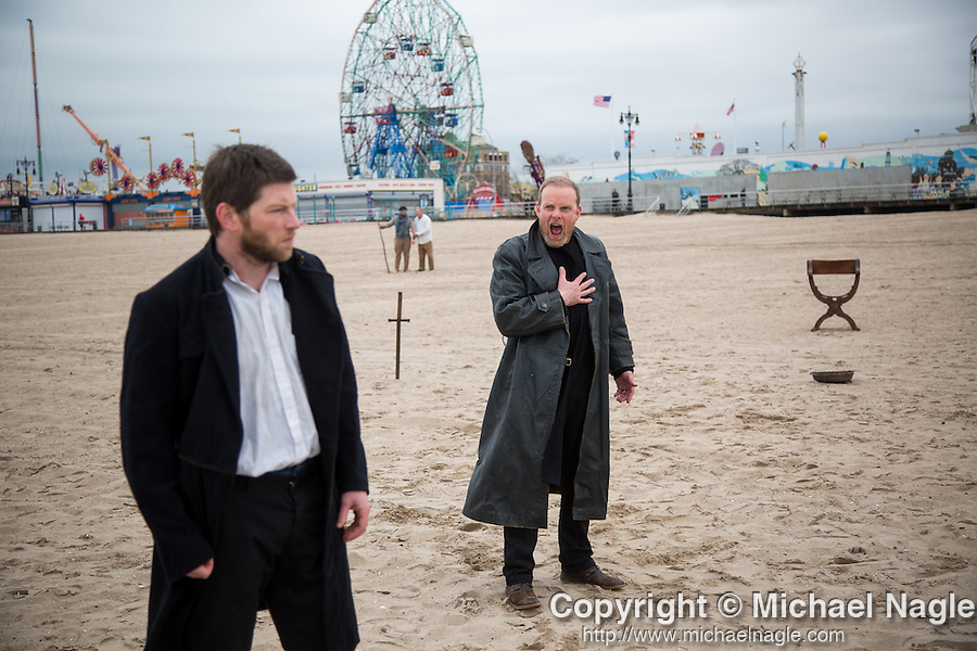 Sligo's Blue Raincoat Theatre Company rehearse on New York's iconic Coney Island Beach in advance of the company's US debut with two unique outdoor performances of On Baile's Strand by WB Yeats on May 7th and 8th. Originally performed on Cummeen Beach beside Coney Island in Sligo last year, the production opens the inaugural New York Cùala Cultural Festival. www.blueraincoat.com