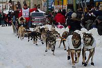 2010 Iditarod Ceremonial Start in Anchorage Alaska musher # 2 LINWOOD FIEDLER with Iditarider LEE NOWAK