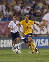 Sweden midfielder Josefine Oqvist (14) on the attack. The US Women's national team beat Sweden, 3-0, at Rentschler Field on July 17, 2010.
