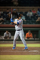 Mesa Solar Sox shortstop Nico Hoerner (17), of the Chicago Cubs organization, at bat during an Arizona Fall League game against the Scottsdale Scorpions on October 9, 2018 at Scottsdale Stadium in Scottsdale, Arizona. The Solar Sox defeated the Scorpions 4-3. (Zachary Lucy/Four Seam Images)