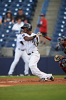 Tampa Yankees center fielder Jorge Mateo (14) at bat during a game against the Fort Myers Miracle on April 12, 2017 at George M. Steinbrenner Field in Tampa, Florida.  Tampa defeated Fort Myers 3-2.  (Mike Janes/Four Seam Images)