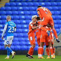 Blackpool's Jerry Yates celebrates scoring the opening goal with team-mates<br /> <br /> Photographer Chris Vaughan/CameraSport<br /> <br /> The EFL Sky Bet League One - Peterborough United v Blackpool - Saturday 21st November 2020 - London Road Stadium - Peterborough<br /> <br /> World Copyright © 2020 CameraSport. All rights reserved. 43 Linden Ave. Countesthorpe. Leicester. England. LE8 5PG - Tel: +44 (0) 116 277 4147 - admin@camerasport.com - www.camerasport.com