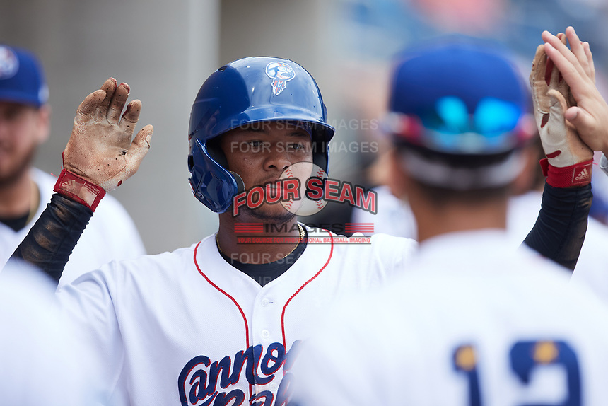 Samil Polanco (13) of the Kannapolis Cannon Ballers celebrates with his teammates after scoring a run during the game against the Carolina Mudcats at Atrium Health Ballpark on July 18, 2021 in Kannapolis, North Carolina. (Brian Westerholt/Four Seam Images)